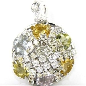 Jewelry - Multi-Color Gemstone & Diamond Pendant WG 20.57Ct